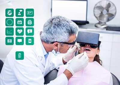 dentista y paciente con fafas de realidad virtual